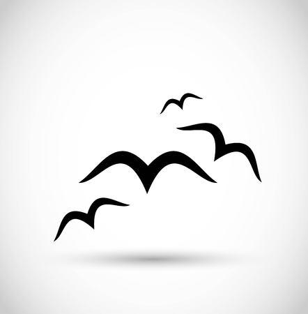 Seagull birds icon vector Illustration