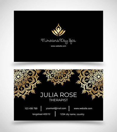 Black business card for Day Spa, Yoga Studio or Wellness Business vector template