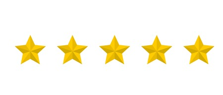 Star rating realistic gold star set vector 矢量图像