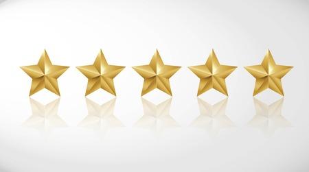 Star rating realistic gold star set vector Иллюстрация