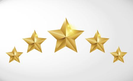 Star rating realistic gold star set vector Ilustrace