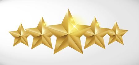 Star rating realistic gold star set vector Illustration