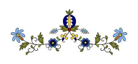 Traditional, modern Polish - Kashubian floral folk decoration vector, Kashubian patterns, Kashubian pattern, embroidery Illustration