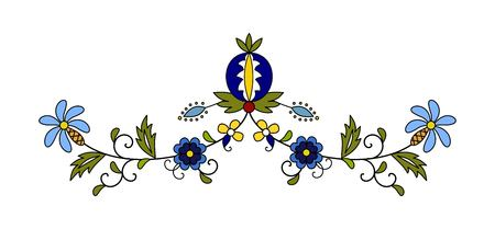 Traditional, modern Polish - Kashubian floral folk decoration vector, Kashubian patterns, Kashubian pattern, embroidery Ilustrace