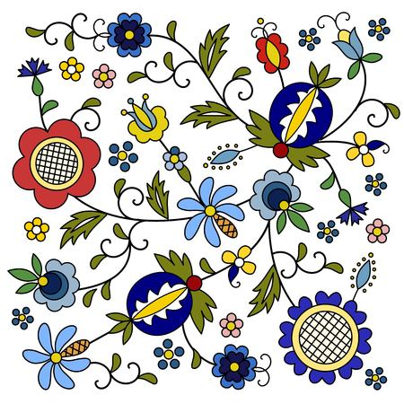 Traditional, modern Polish - Kashubian floral folk decoration vector, Kashubian patterns, Kashubian pattern, embroidery Çizim