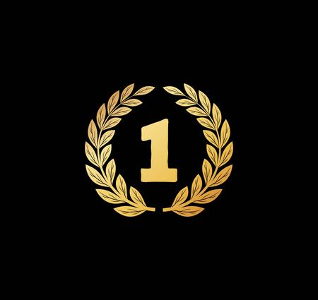 The Winner - golden sign with laurel icon vector Ilustracja
