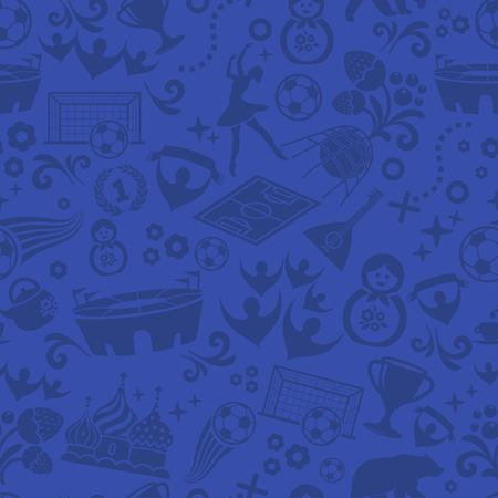 Beautiful seamless pattern, football in Russia, football background vector