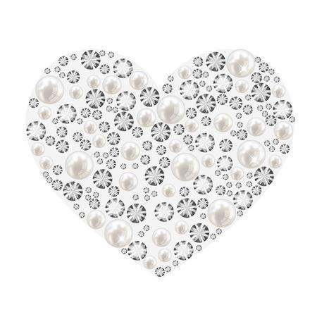Cuore fatto di perle e diamanti vettore