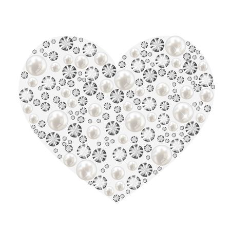 Heart made of pearls and diamonds vector