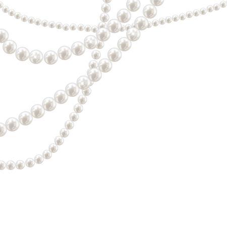 Collar de perlas de vector sobre fondo claro