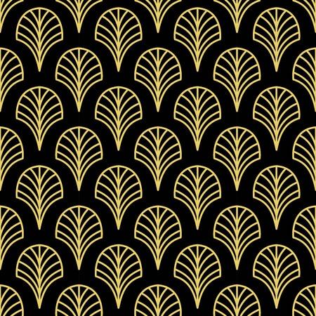 Art Deco Golden palmette seamless vector pattern