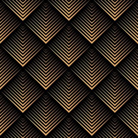Art Deco, geométrico, vector de patrones sin fisuras - oro sobre negro