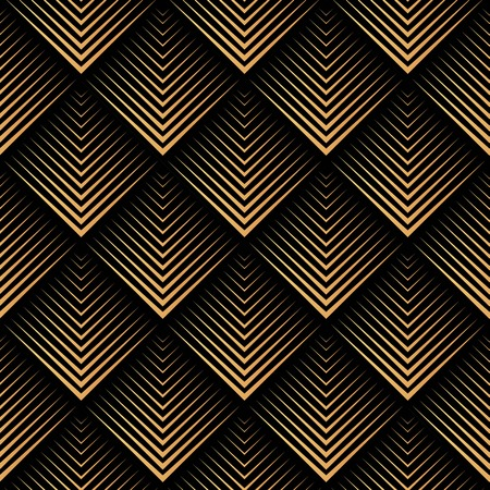 Art Deco, geometryczny, wektor wzór - złoto na czarno