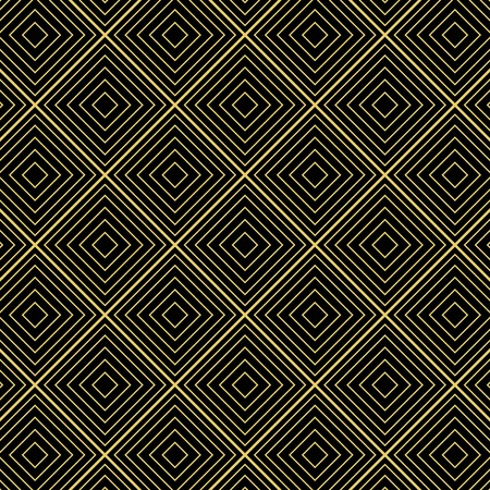 Art Deco, geometric, vector seamless pattern - gold on black