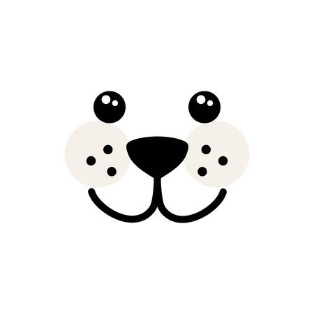 Cute, simple dog face vector Illustration