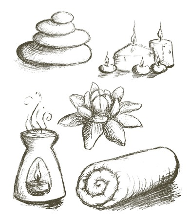Spa hand drawn set vector Ilustracja