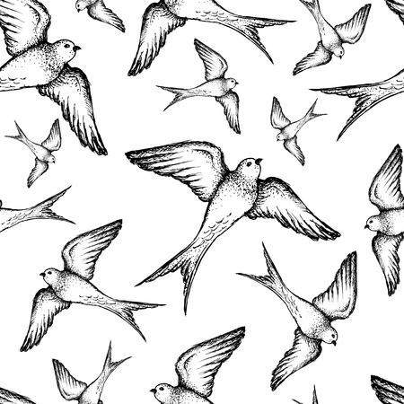 Beautiful seamless hand drawn swallow vector pattern