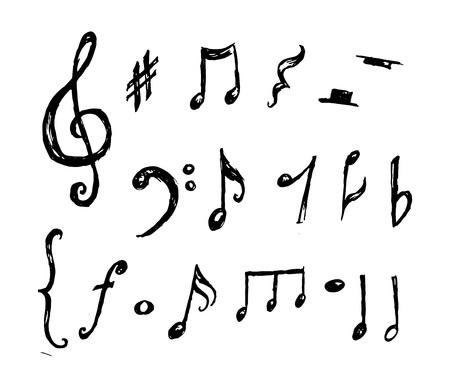 Hand drawn music notes collection vector Ilustração Vetorial