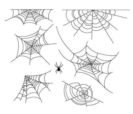 Spiderweb vector illustration set