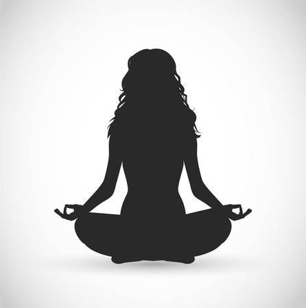 Mujer con ilustración de vector de meditación de pelo largo