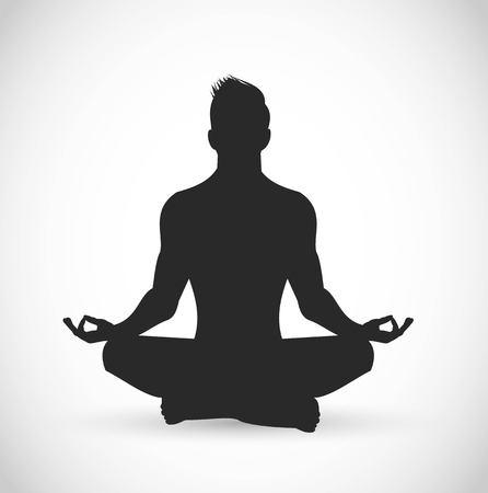 Mann, der Vektorillustration meditiert