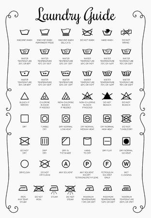 Icônes vectorielles Guide de blanchisserie, collection de symboles Vecteurs