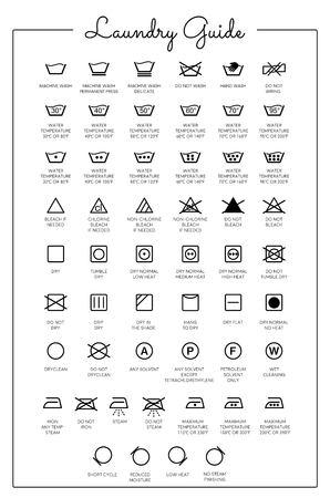 Icone vettoriali di guida alla lavanderia, raccolta di simboli Vettoriali