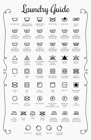 Wäsche-Guide-Vektor-Icons, Symbolsammlung
