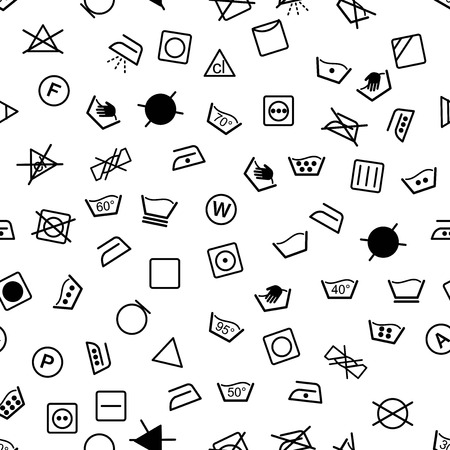 Laundry symbols seamless vector pattern