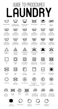 Icone vettoriali di guida alla lavanderia, raccolta di simboli
