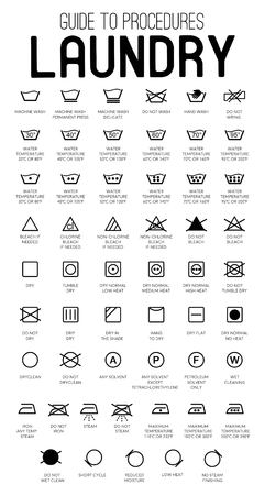 Iconos de vector de guía de lavandería, colección de símbolos