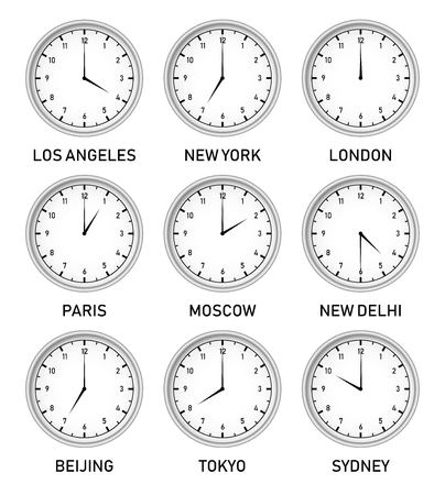 Clocks with different time zones in different big cities of the world vector