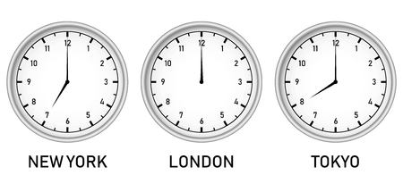 Clock with different time zones - New York, London and Tokyo vector