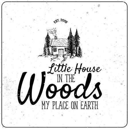 Pequeña casa en el bosque linda ilustración dibujada a mano con suscripción Ilustración de vector