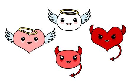 Angel and Devil vector Kawaii icon