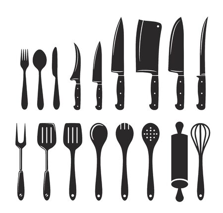 Kitchen utensils icon big vector set Illustration