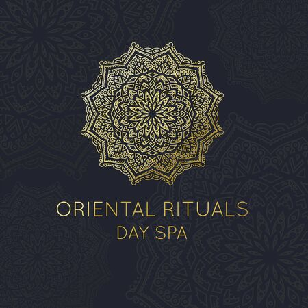 Oriental Logo, Gold Mandala template for Oriental Day Spa Logo and other Oriental Brands vector