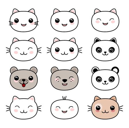 Cute cats faces Kawaii style vector Ilustracja