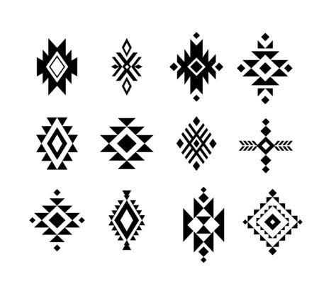 Aztec  Tribal shapes, symbols collection vector set