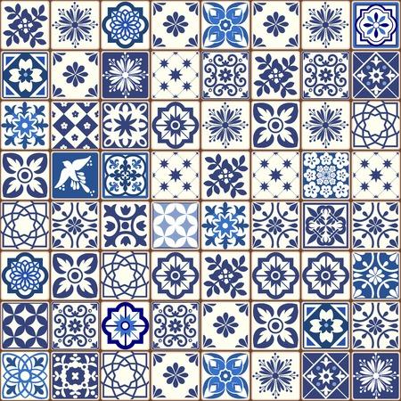 Reticolo blu portoghese delle mattonelle - vettore di Azulejos, mattonelle di disegno interno di modo