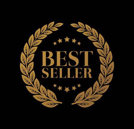 Signe d'or de meilleur vendeur avec le vecteur de laurier