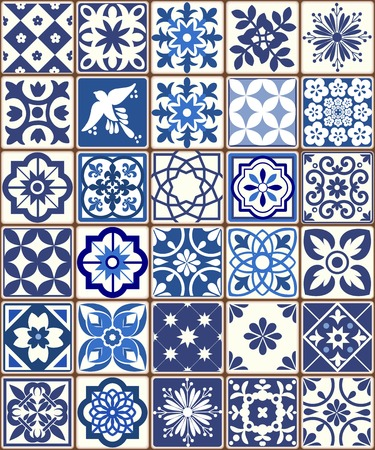 Blue Portuguese tiles pattern - Azulejos vector, fashion interior design tiles