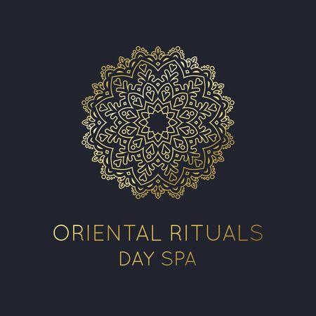 Oriental Logo, Gold Mandala Vorlage für Oriental Day Spa Logo und andere orientalische Markenvektoren Logo