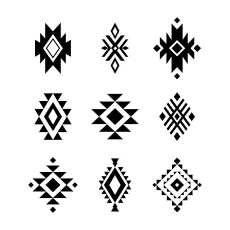 Aztec / Tribal shapes, symbols collection vector set 일러스트