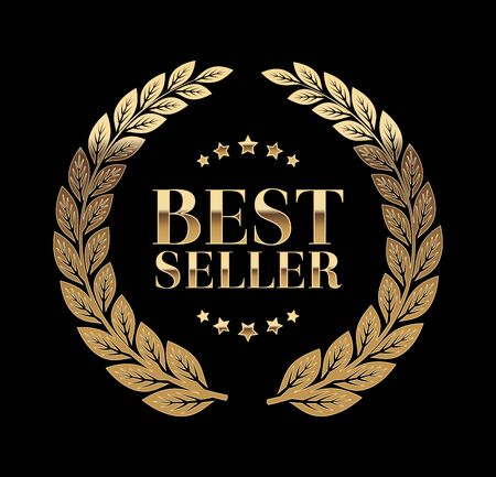 Best Seller Gold sign with laurel vector