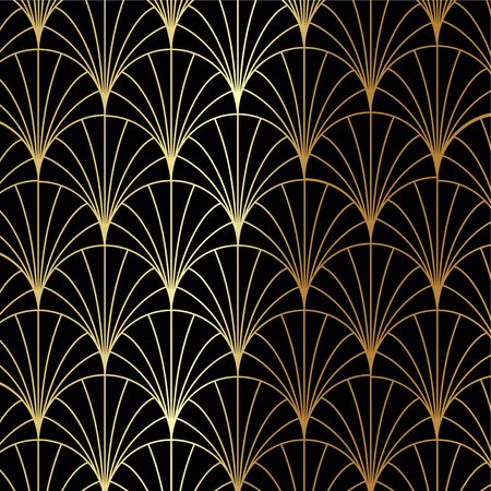 Art Deco gold palm, palmette pattern - Great Gatsby, 1920s theme vector Ilustracja