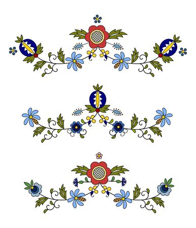 Traditional, modern Polish - Kashubian floral folk decoration vector, Kashubian patterns, Kashubian pattern, embroidery Ilustracja