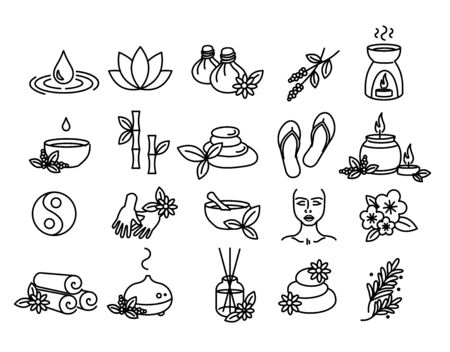 Beautiful set of SPA, Wellness and Aromatherapy vector icons - thin line style