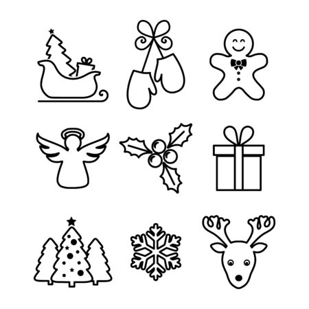 Christmas icon set vector Ilustracja