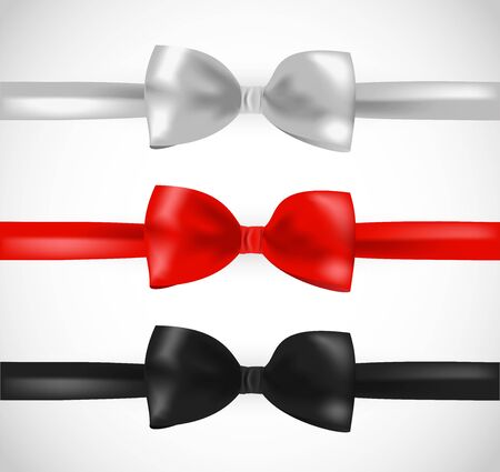 White, red and black ribbon bow vector set Reklamní fotografie - 128741242